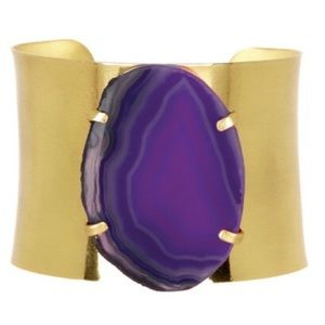 Purple agate gold adjustable cuff bracelet